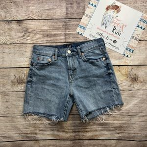 Gap Mid Rise Raw Hem Shorts